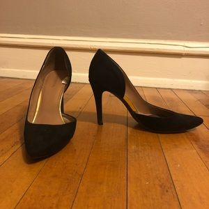 Black suede pointed-toe heels, size 8